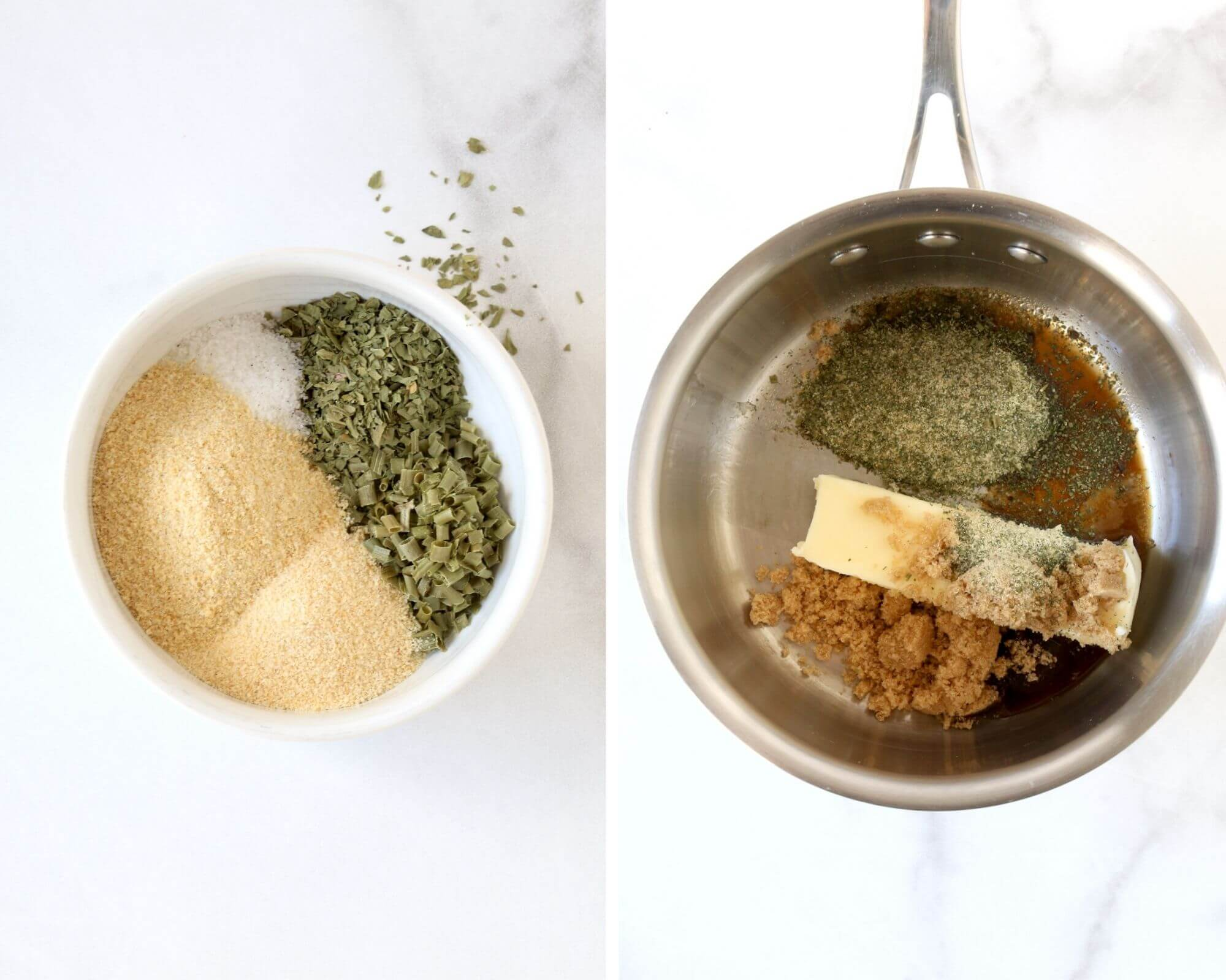 A small bowl with ranch seasoning and a sauce pan with butter, brown sugar and ranch seasoning.                                                                                                                                                                                                                                                                                                                                                                                                                             f