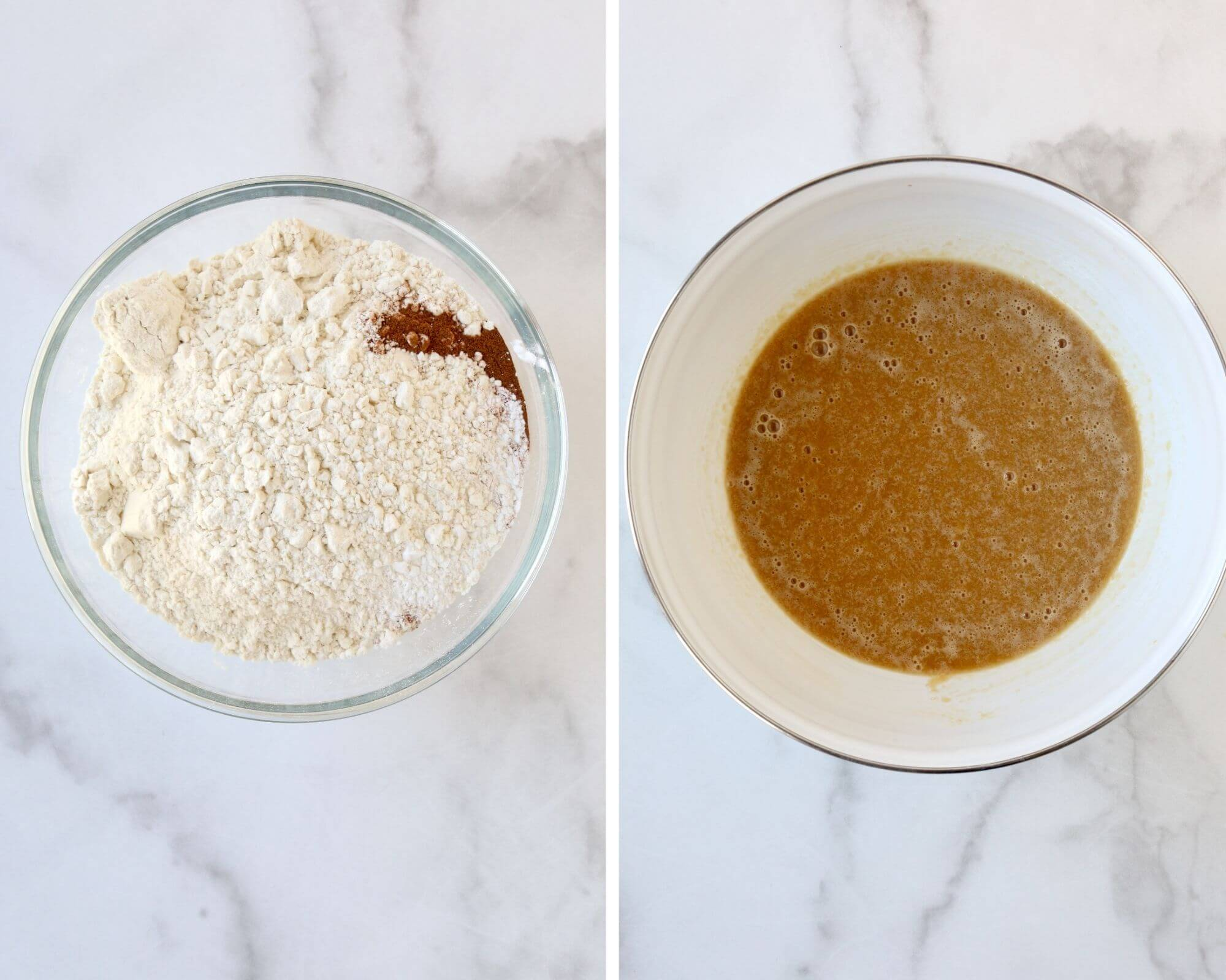 One bowl filled with dry ingredients next to a bowl with mixed wet ingredients.