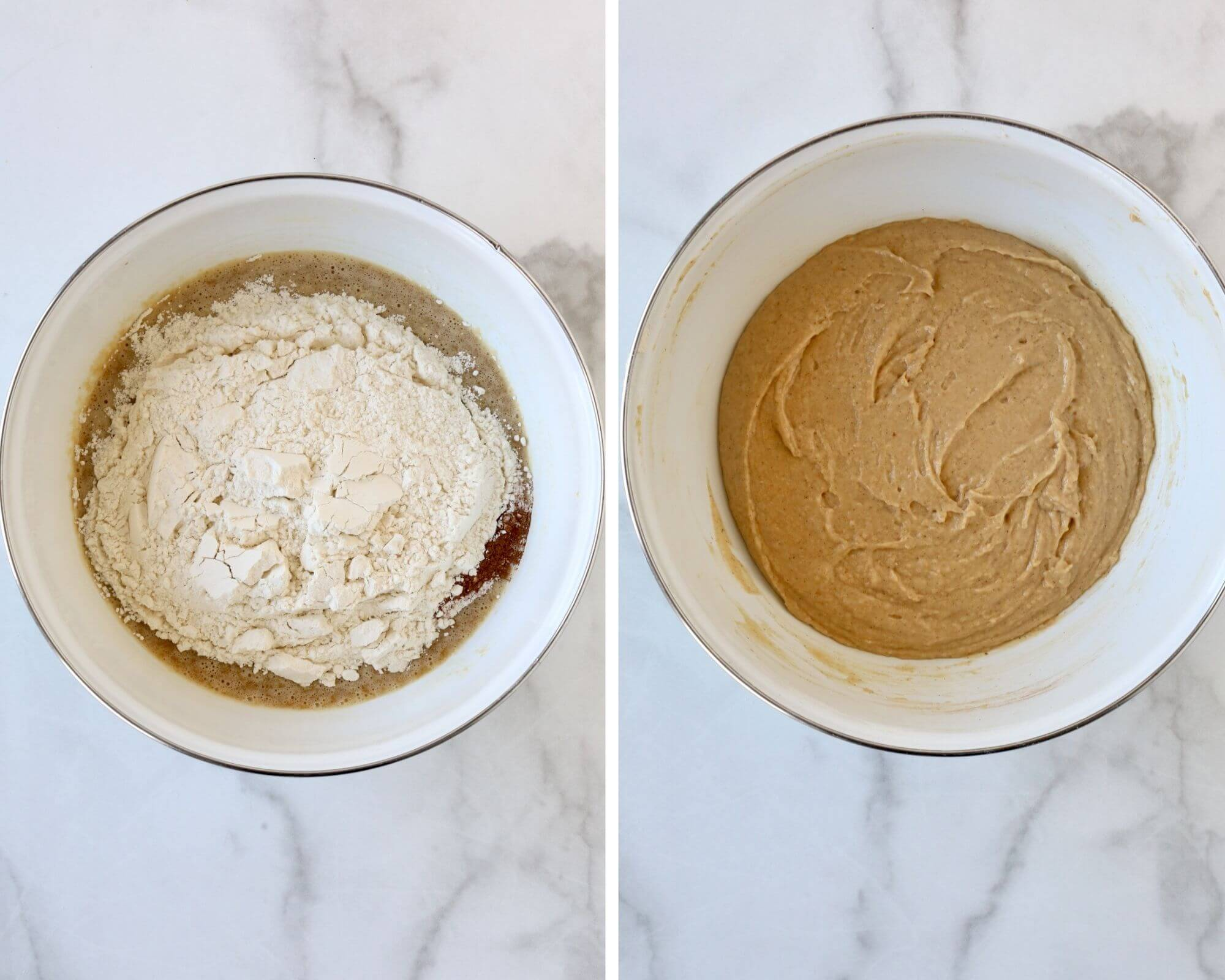 A bowl of wet ingredients with dry ingredients on top next to a bowl of apple spice cake batter completed.