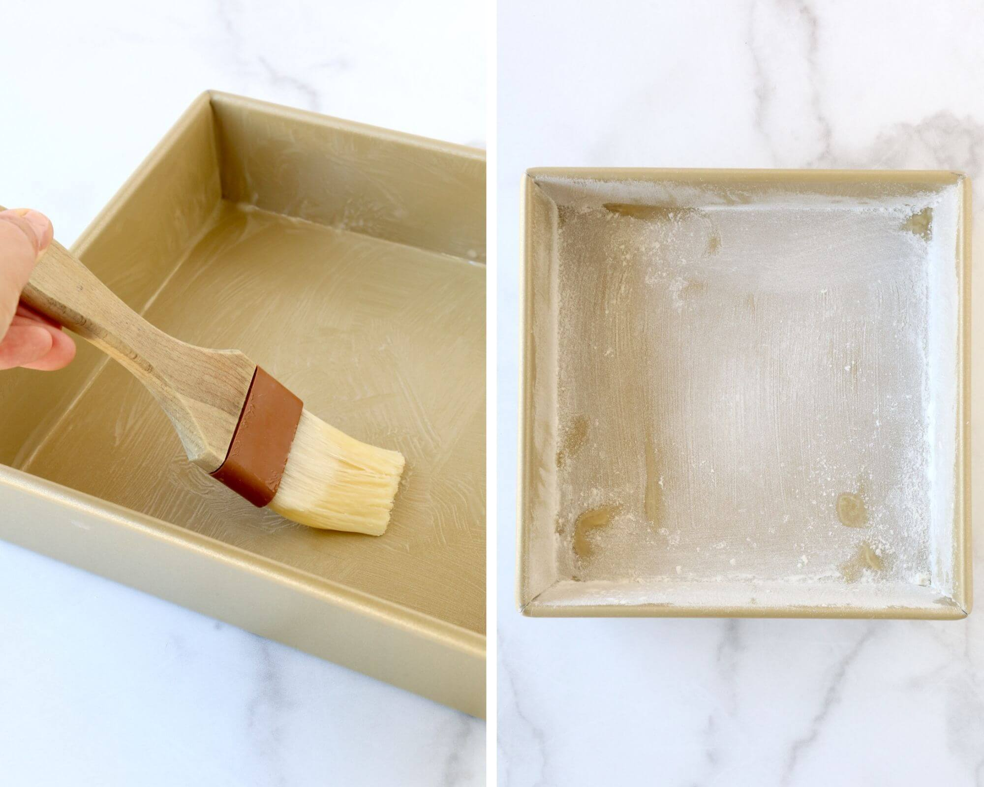 A gold square cake pan getting brushed with melted butter next to a square cake pan that has been dusted with flour.