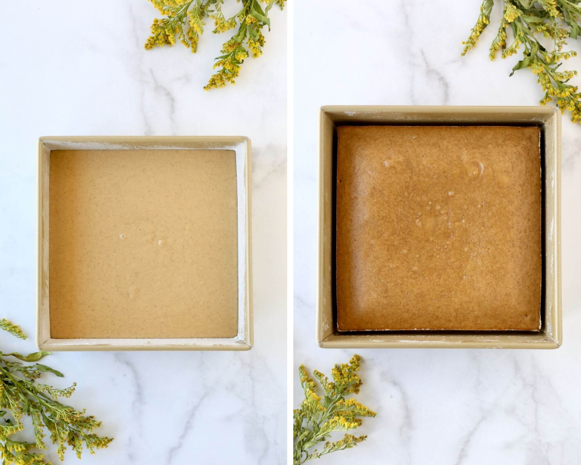 A square cake pan with raw cake batter next to a square cake pan with baked cake batter.