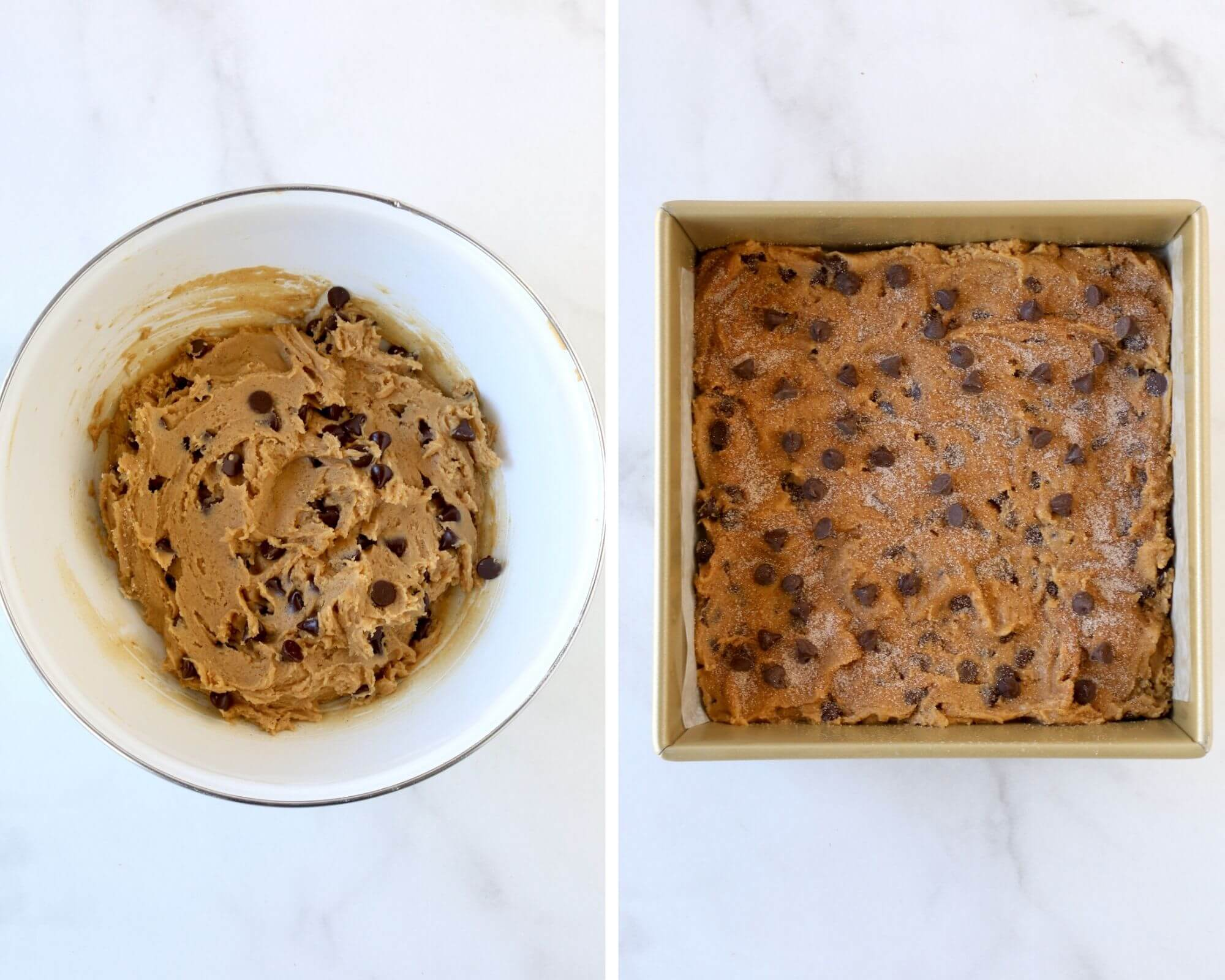 A bowl of cookie dough next to dough pressed into a square baking pan.