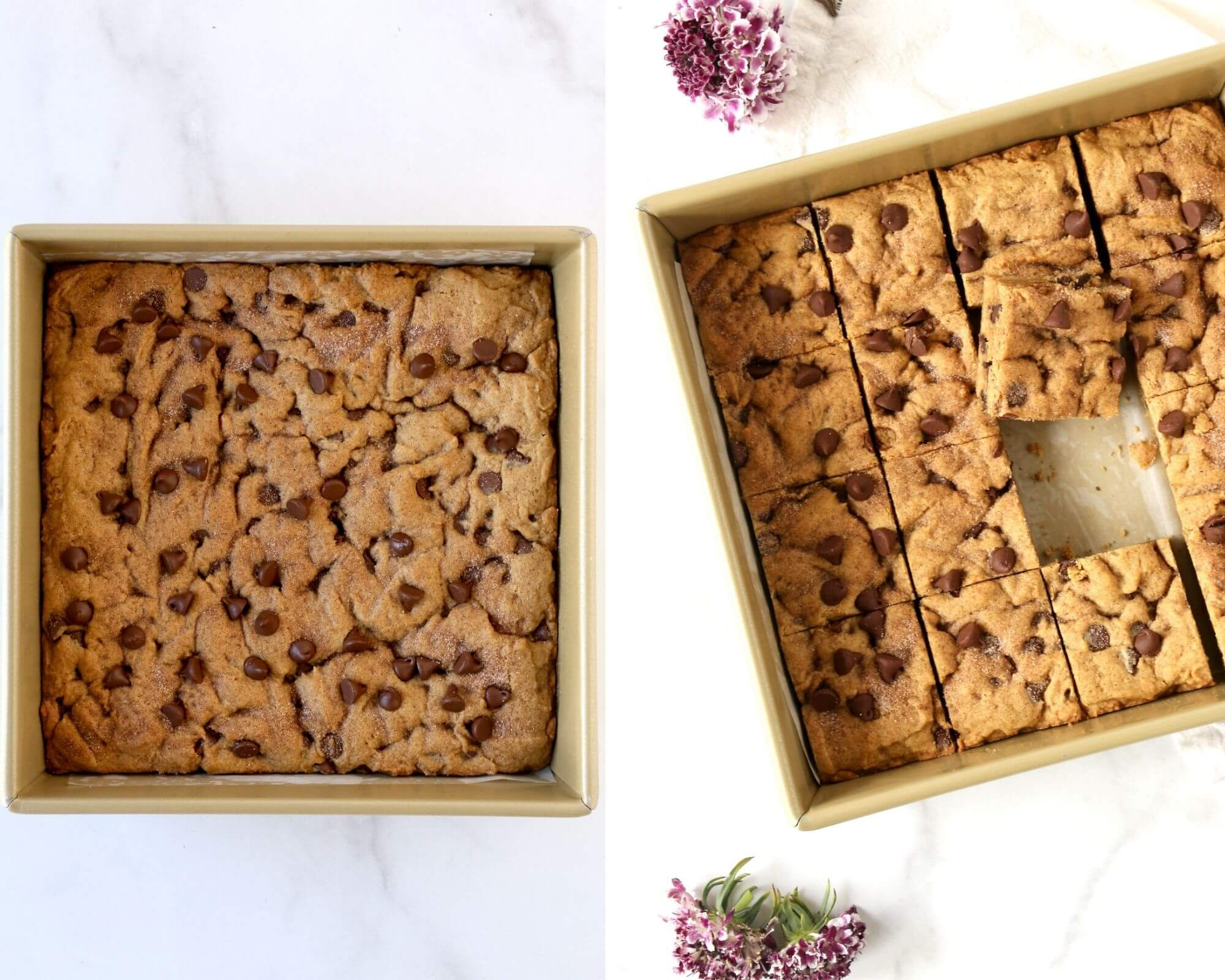 A square pan with baked cookie bars.
